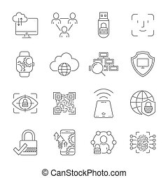 Cyber technology, networks, protection, connection. Vector icons set. Technologies of digital space. Editable Stroke. EPS 10