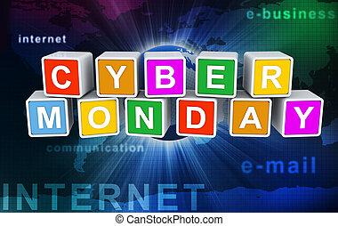'cyber, texto, monday', buzzword, 3d