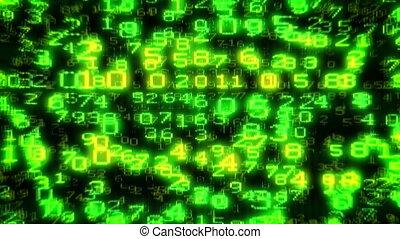 Cyber USA Flag -Digital Data Matrix - Camera moving back...