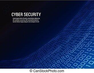 cyber, veiligheid, concept, op, binaire code, achtergrond