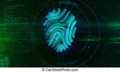 cyber, veiligheid, door, vingerafdruk, concept