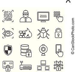 cyber, veiligheid, gegevensbescherming, computerkraker, en, malware, lijn, iconen