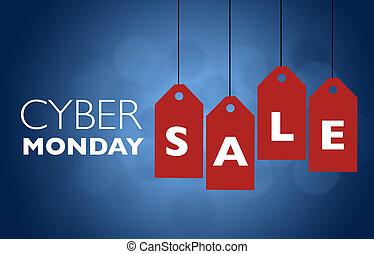 cyber, vente, lundi