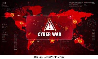 Cyber War Alert Warning Attack on Screen World Map Loop...
