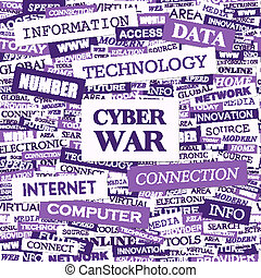 CYBER WAR. Concept illustration. Graphic tag collection. ...