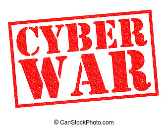 CYBER WAR red Rubber Stamp over a white background.