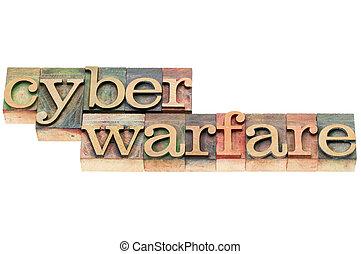 cyber warfare in wood type - cyber warfare words - isolated ...