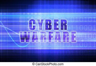 Cyber Warfare on a Tech Business Chart Art