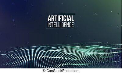 cyber, wireframe., fil, réseau, ai, intelligence, illustration, vecteur, technologie, artificiel, fond, sécurité, grid., futuriste, 3d