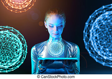 Cyber woman holding lighting panel with glowing polygonal...