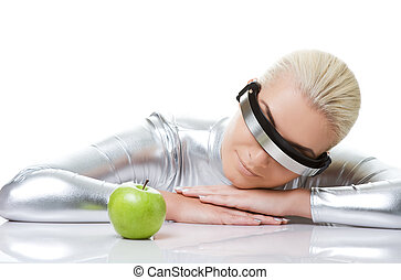 Cyber woman with a green apple
