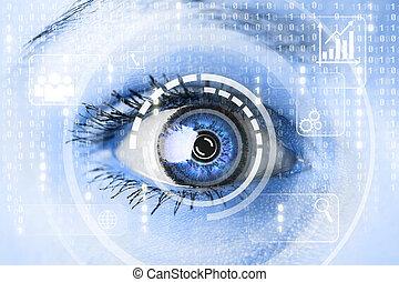 Modern cyber woman with matrix eye concept. Macro shot
