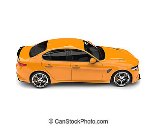 Cyber yellow modern fast car - side view