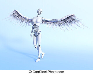 Cyberangel. - A female robot with big white wings - a ...