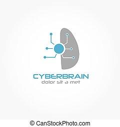 cyberbrain, vetorial, desenho, modelo