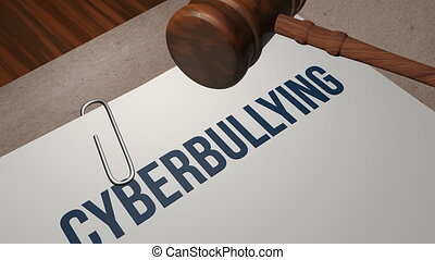 Cyberbullying legal concept shot clip