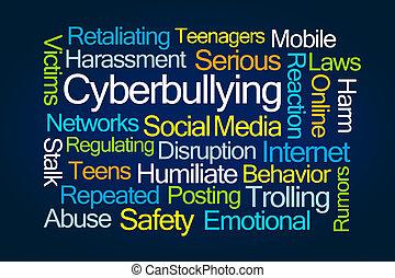 cyberbullying, szó, felhő