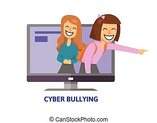 Cyberbullying, trolling. Teenage girls laughing and pointing...