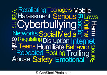 cyberbullying, wort, wolke