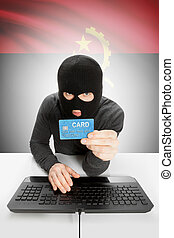 Cybercrime concept with national flag on background - Angola
