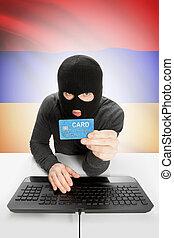 Cybercrime concept with national flag on background - Armenia