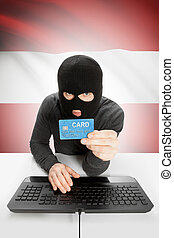 Cybercrime concept with national flag on background - Austria