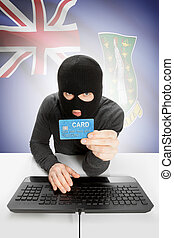 Cybercrime concept with national flag on background - British Virgin Islands