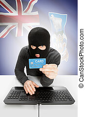 Cybercrime concept with national flag on background - Falkland Islands