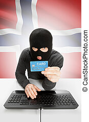 Cybercrime concept with national flag on background - Norway