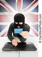 Cybercrime concept with national flag on background - United Kingdom