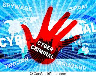 Cybercriminal Internet Hack Or Breach 2d Illustration Shows...