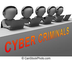 Cybercriminal Internet Hack Or Breach 3d Rendering Shows...