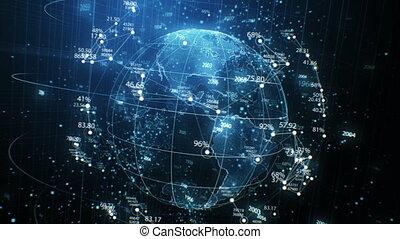 cyberespace, concept, réseau, elements., animation., futuriste, seamless, 4k, ultra, business, fait boucle, grille, nombres, 3840x2160, la terre, rotation, planète, technologie, hologramme, hd, 3d