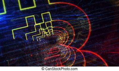 cyberespace, futuriste, enetry, symbole, animation, bitcoin