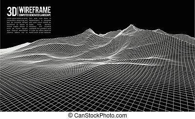 cyberespace, illustration., résumé, wireframe,...