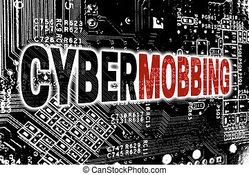 Cybermobbing with circuit board concept background