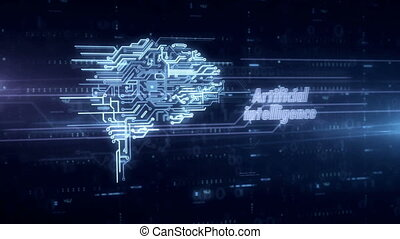 Cybernetic brain blue hologram 3d animation. Futuristic...