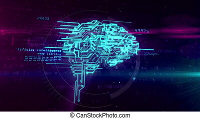 Cybernetic brain concept animation - Artificial...