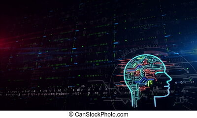 Cybernetic brain lower thirds background - Artificial...