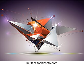 Cybernetic dimensional apex technology object with lines mesh. 3d colorful shiny complicated structure, can be used in web and graphic design.