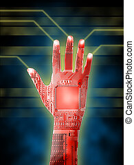 Cybernetic hand - Open cybernetic hand. Printed circuits...