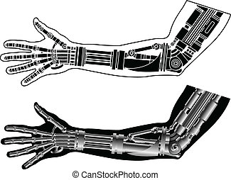 cybernetic hand with stencil