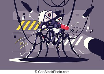 Cybernetic robot mosquito drone vector illustration....