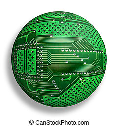cybernetic world - electronic board sphere, isolated...