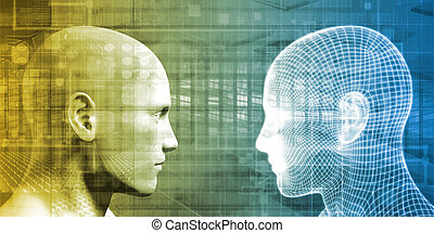 Cybernetics and Future of Man Technology Concept