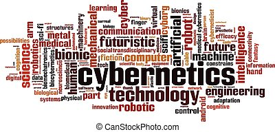 Cybernetics word cloud concept. Vector illustration