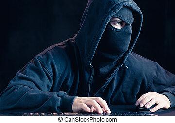 cybernetisk terrorist, in, svart, maskera