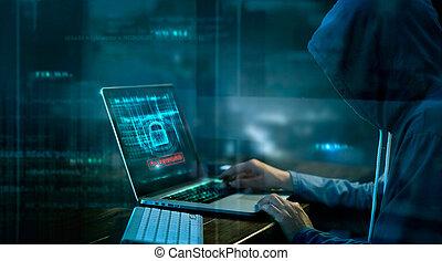 cybernetiska, angrepp, eller, datorbrott, dataintrång, lösenord, på, a, mörk, bakgrund.