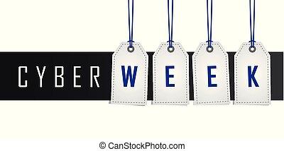 cybernetiska, befordran, hängande, vecka, etikett