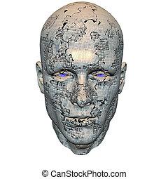 cybernetiska, män, huvud
